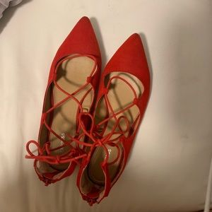 Express Red Tie-up Flats